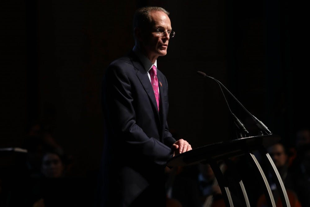 <p>Ball State President Geoffrey S. Mearns speaks at the Centennial Celebration Thursday, Sept. 6, 2018, at Emens Auditorium. Mearns unveiled their strategic plan which highlights goals into the next centennial. <strong>Rebecca Slezak, DN</strong></p>