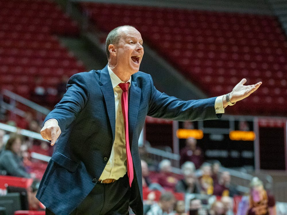 Head Coach Brady Sallee yells at a referee after a call was made Feb. 29, 2020, at John E. Worthen Arena. Ball State beat Central Michigan 67-62. Jacob Musselman, DN