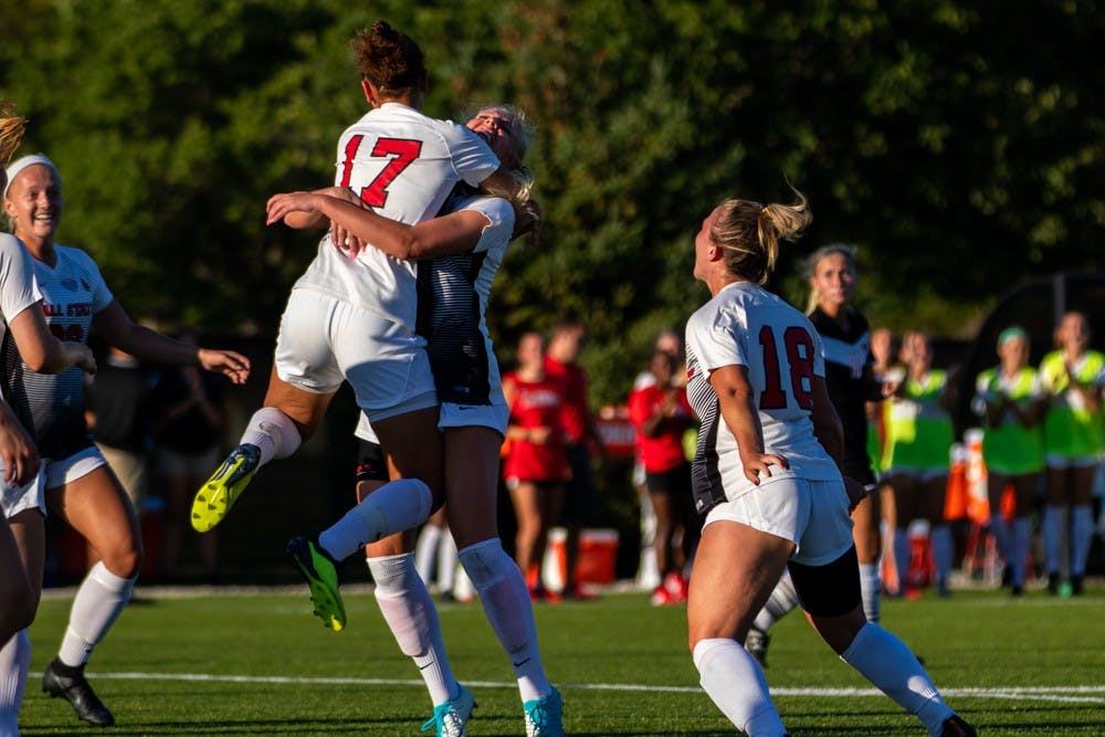 Ball State's women's soccer team celebrates after Julia Elvbo scored the Cardinals' first goal of the game Friday, Sept. 14, 2018 at Briner Sports Complex tying the game 1 to 1 in the second half. The Cardinals won 3 to 1 against the University of Nebraska-Omaha. Eric Pritchett,DN