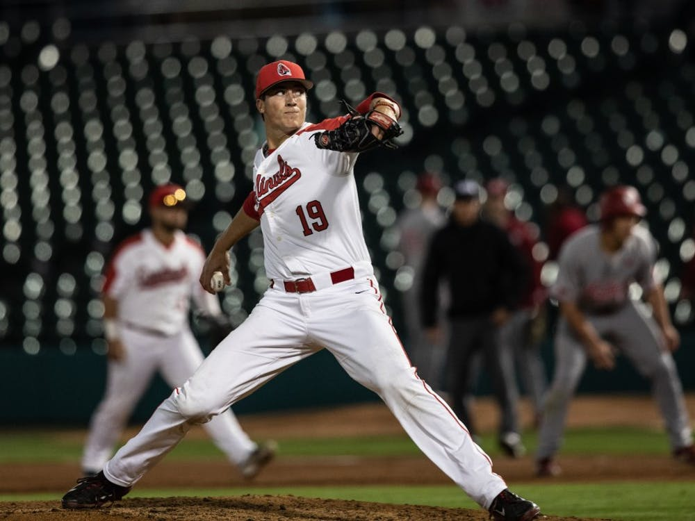 Then-sophomore Kyle Nicolas pitches at Victory Field in Indianapolis April 23, 2019. The Cardinals lost 9-3. Rebecca Slezak, DN