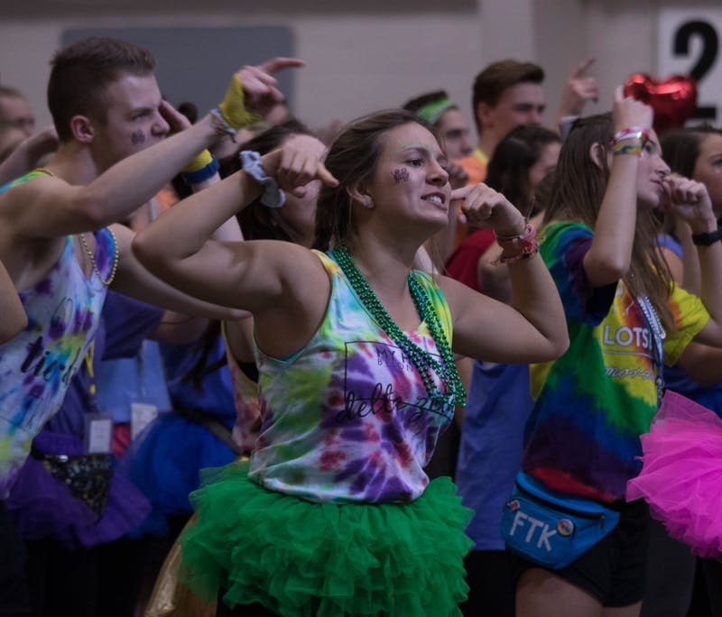 The 11th annual Ball State Dance Marathon took place Feb. 17 in the Field and Sports Building. Participants raised $653,011.23 for Riley Hospital for Children to help fund the Magic Castle Cart — a program that delivers more than 20,000 gifts to patients, parents and siblings annually. Rebecca Slezak, DN