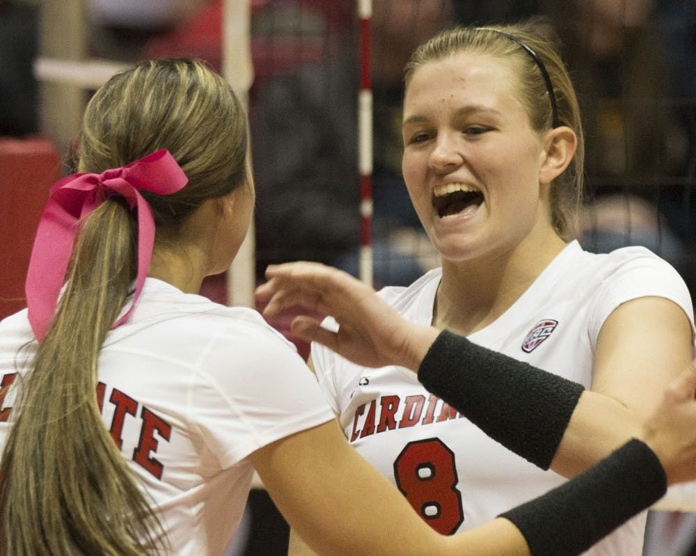 <p>Then-sophomore, Jessica Lindsey celebrates after scoring a point against Toledo at Worthen Arena on October 29th, 2015. Emily Sobecki // DN File</p>