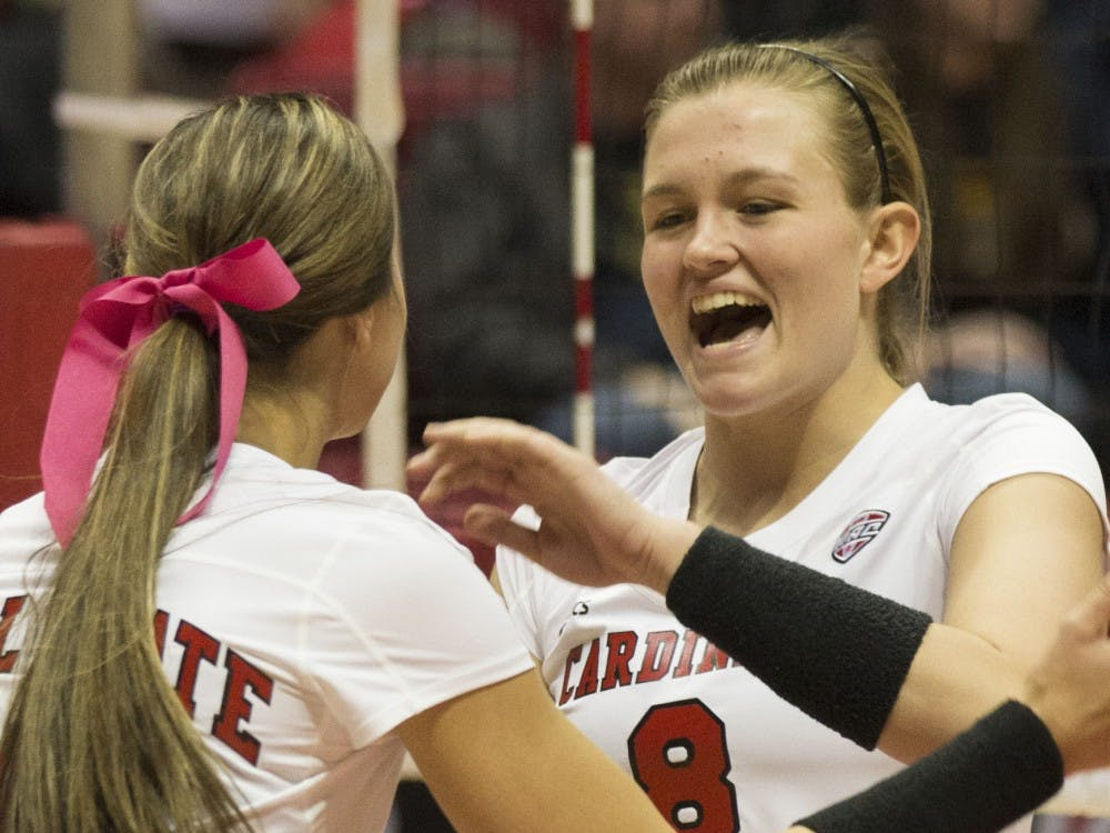 Then-sophomore, Jessica Lindsey celebrates after scoring a point against Toledo at Worthen Arena on October 29th, 2015. Emily Sobecki // DN File