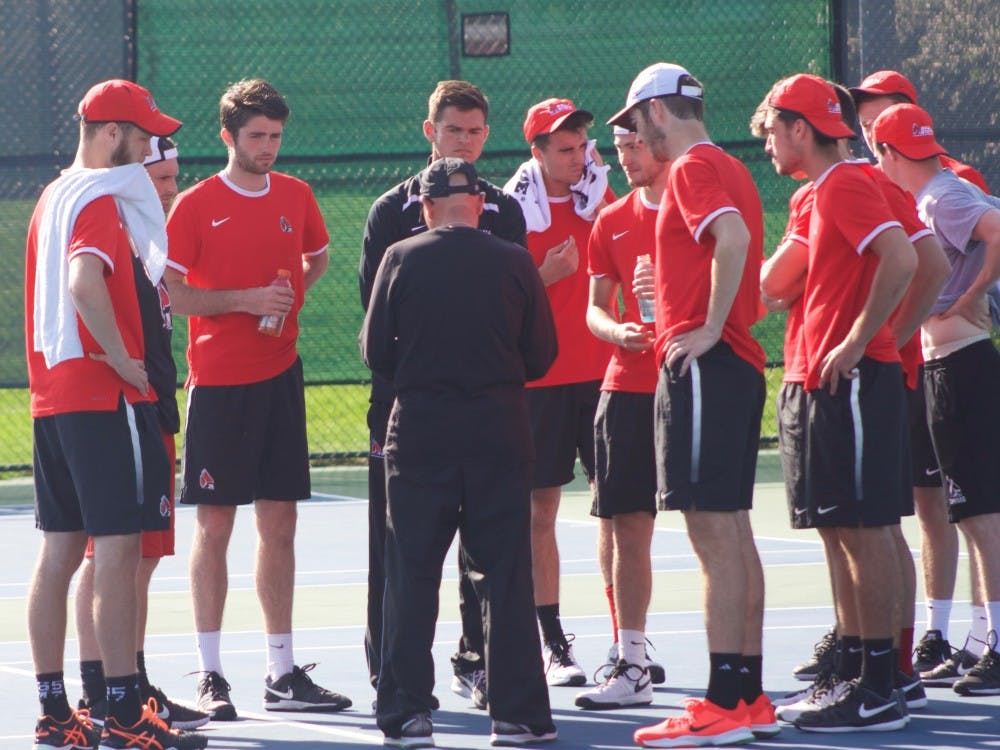Ball State men's tennis team gathers together after winning the match against IUPUI on April 12 at Cardinal Creek Tennis Center.  The team returns to action on April 14 against Western Michigan.  Patrick Murphy // DN