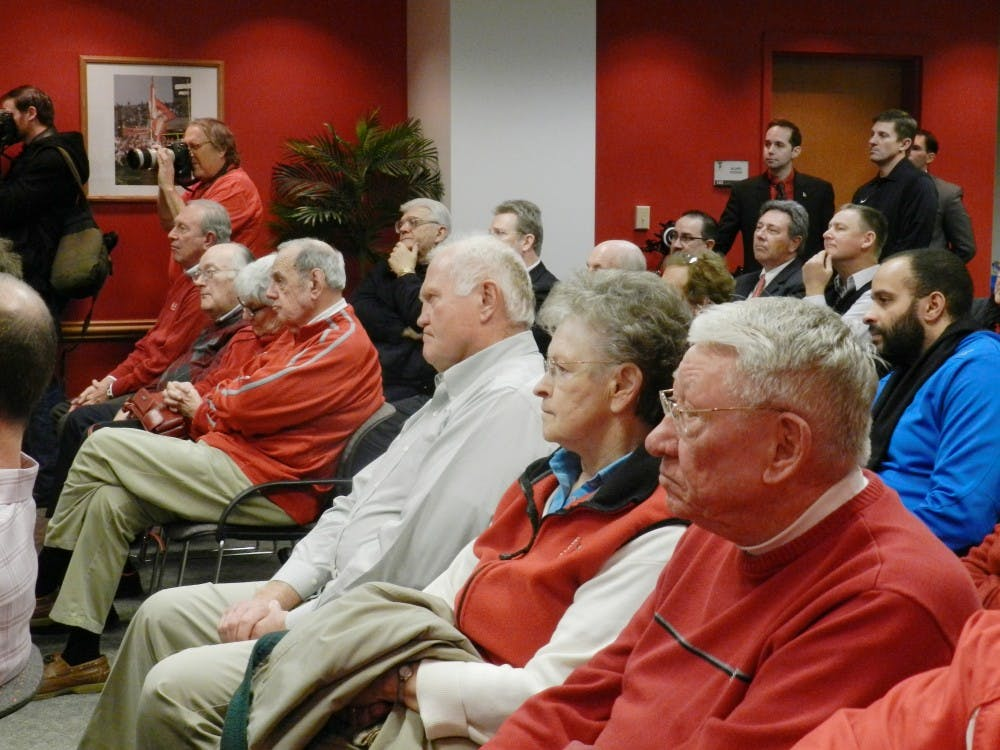 Members of the audience listen to new Athletic Director Mark Sandy, who takes over at Ball State on Feb. 1. The search for a the new athletic director lasted less than tree months. DN PHOTO VICTORIA MORTON