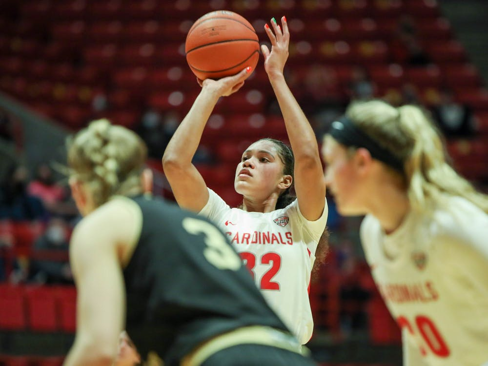 Senior forward Oshlynn Brown shoots a free point March 6, 2021, in John E. Worthen Arena. The Cardinals beat the Broncos 76-69. Jaden Whiteman, DN