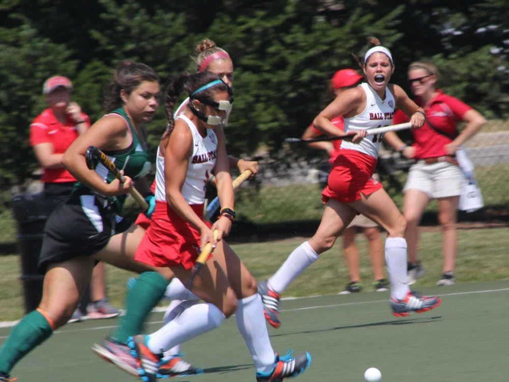 Freshman midfielder Kylee Cunningham attempts to get the ball past an Ohio defender on Aug. 27 at Briner Sports Complex. In the first half, the Cardinals had two assists. Patrick Murphy, DN File