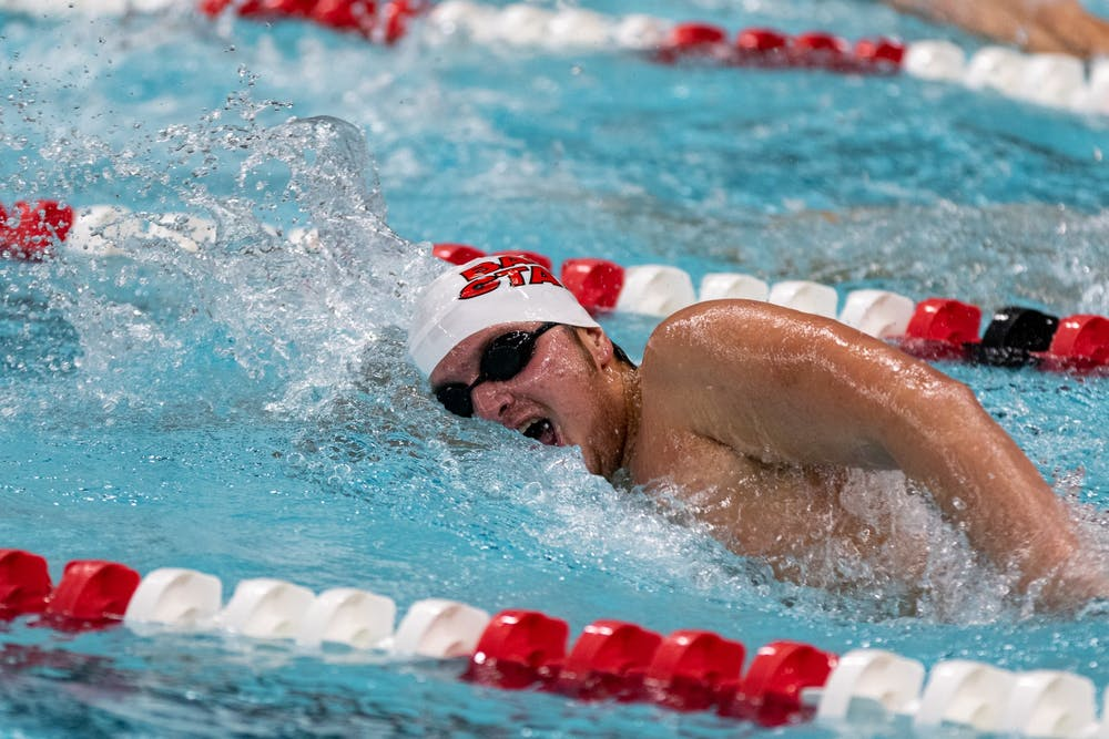 <p>Ball State freshman, Dillon Freiberger competes in the Men's 500 Freestyle Nov. 2, 2019, at Lewellen Aquatic Center. The Ball State men's and women's teams defeated Wabash and Eastern Michigan with a combined score 195.5-96.5.<strong> Paul Kihn, DN</strong></p>