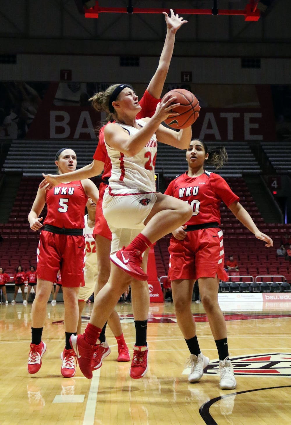 <p>Ball State graduate guard Jasmin Samz goes for a layup during the Cardinals' game against Western Kentucky Dec. 7, 2019, at John E. Worthen Arena. Samz scored 13 points.<strong> Paige Grider, DN</strong></p>
