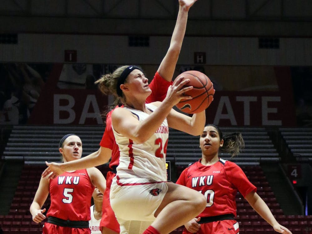 Ball State graduate guard Jasmin Samz goes for a layup during the Cardinals' game against Western Kentucky Dec. 7, 2019, at John E. Worthen Arena. Samz scored 13 points. Paige Grider, DN