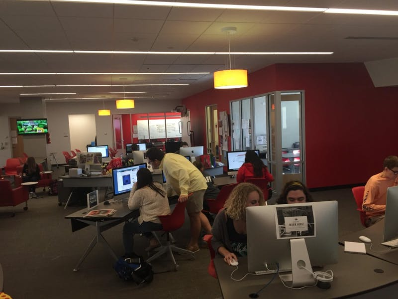 Daily News editors and reporters working in the Unified Media Lab April 25. Casey Smith, DN