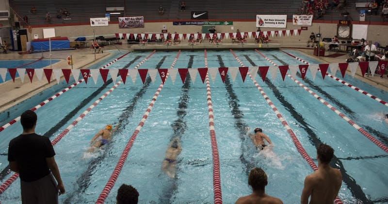 Ball State mens swimming and diving held their Red White practice meet on Oct 14th. They will open up their season with their first official meet on Nov. 11 against Tiffin. Harrison Raft, DN File
