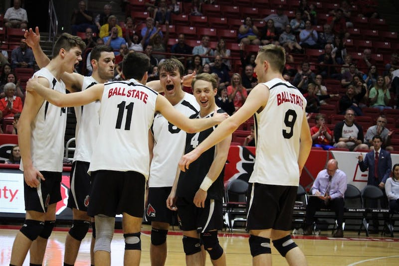 Ball State men's volleyball wins the match against Loyola-Chicago, 3-1, in the Midwestern Intercollegiate Volleyball Association Quarterfinals on April 15 in John E. Worthen Arena. Ball State advances to the MIVA Tournament Semifinals, which will be played on April 19. Alicia M. Barnachea // DN