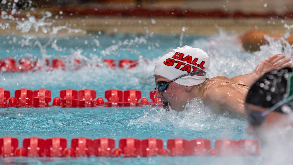 Ball State Freshman, Shelby Crist competes in the Women's 100-meter butterfly Nov. 2, 2019, at Lewellen Aquatic Center. She went on to place 3rd in the event. Paul Kihn, DN