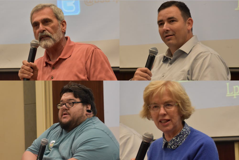 <p>Top row left to right: Will Statom, chairman of the Delaware county Republican Party, and Rich Turvey, the libertarian candidate for U.S. congress.&nbsp;Bottom row left to right: Anthony Amstutz, coordinator for Delaware County's Green Party, and Sue Errington, a democratic member of Indiana's House of Representatives.&nbsp;The Center for Peace and Conflict Studies invited representatives from different political parties to participate in the panel&nbsp;Justice 2016: Parties, Platforms, and Presidential Candidates. <em>Patrick Calvert // DN&nbsp;</em></p>