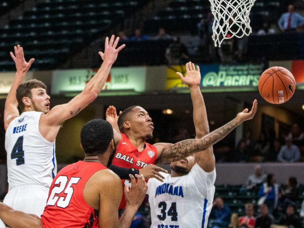 Redshirt senior guard Josh Thompson shoots the ball in the paint Nov. 17, 2019, at Bankers Life Fieldhouse, Indianapolis, Ind. The Cardinals beat Indiana State 69-55. Jacob Musselman, DN