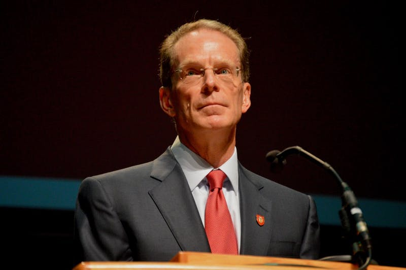 President Geoffrey S. Mearns speaks to Ball State faculty and staff at the Fall Faculty Convocation Aug. 18, 2017. Mearns talked about enrollment numbers, the strategic plan and the future of the institution. Allie Kirkman, DN