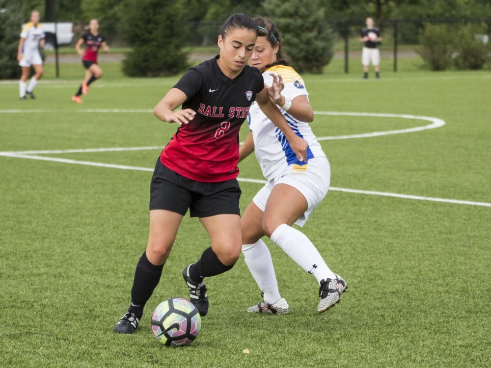Paula Guerrero, a midfielder for the Ball State soccer team, moves the ball downfield during the game against Morehead State on Sept. 16 at the Briner Sports Complex. Ball State won 4-0. Grace Ramey // DN
