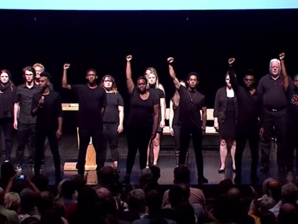 """The Ethnic Theater Alliance performed """"Glory"""" from the movie """"Selma"""" during Friday's opening convocation. The group was joined on stage by faculty, students and alumni. Provided by Ball State University"""
