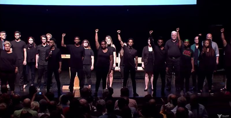 "The Ethnic Theater Alliance performed ""Glory"" from the movie ""Selma"" during Friday's opening convocation. The group was joined on stage by faculty, students and alumni. Provided by Ball State University"