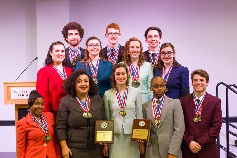Ball State's speech team won the Quality Award andfirst place in 17 of the 20 categoriesat the Indiana Forensics Association state tournament at the University of Indianapolis on Feb. 18. The team has won the competition for the past nine years.Michael Storr // Photo Provided