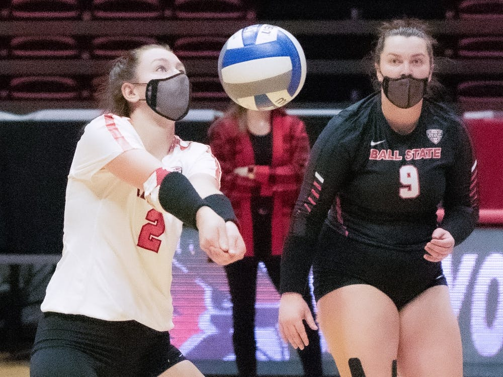 Freshman defensive specialist Kate Vinson passes the ball Feb. 12, 2021, in John E. Worthen Arena. The Cardinals lost to the Falcons 0-3. Madelyn Guinn, DN