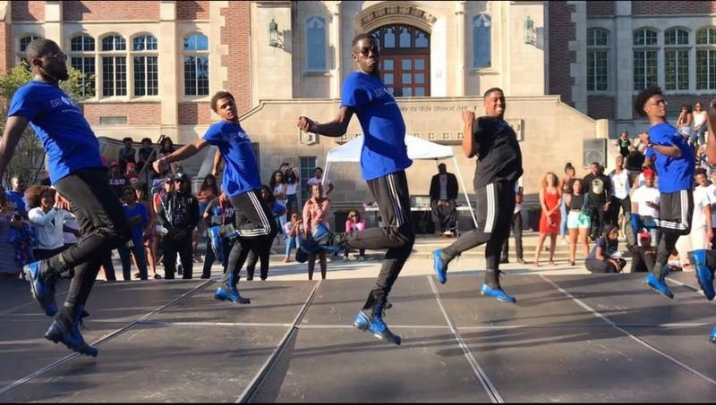 The Lambda Beta chapter of Phi Beta Fraternity, Inc. performing at the 2018 NPHC Yard Show Sept. 30, 2018, in the Quad. NPHC fraternities and sororities on campus are currently looking for dedication plots at Ball State. Connie Prater, Photo Provided