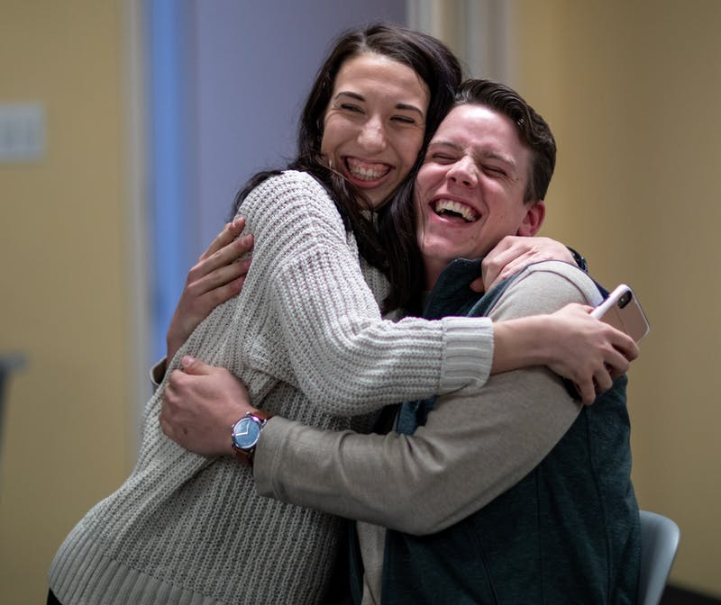 Kyleigh Cramerm, bold campaign manager and Connor Sanburn, newly elected SGA president Feb. 25, 2020, in the Ball Communications building. Bold won the election against Alliance with 53.1 percent of the vote. Jacob Musselman, DN
