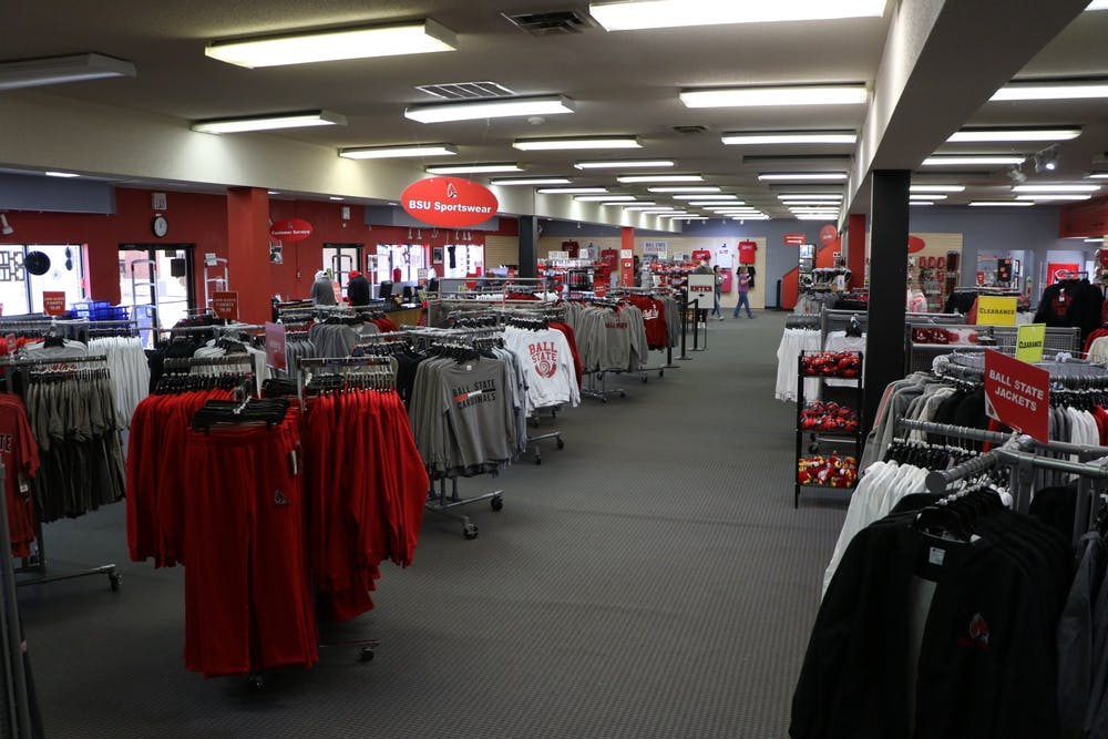 <p>The new Cardinal Fanstore features merchandise in the old T.I.S. College Bookstore building Sept. 14. The Cardinal Fanstore specializes in selling Ball State-themed merchandise, making the Ball State Bookstore the only option for students to purchase books close to campus. <strong>Rylan Capper, DN</strong></p><p></p>