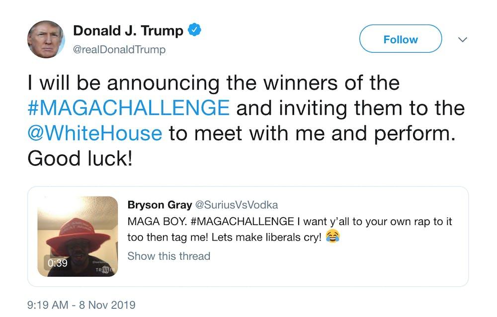 Trump sponsors #MAGAChallenge on Twitter
