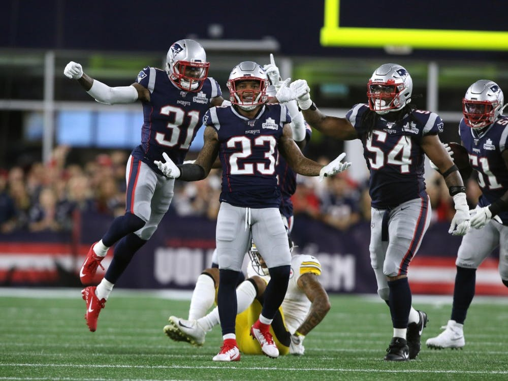The Providence Journal/Bob Breidenbach and The New England Patriots host the Pittsburgh Steelers to start their 2019 season. and #23 Patrick Chung celebrates with teammates after he breaks up a pass in the 2nd quarter to #11 Donte Moncreif. (The Providence Journal/Bob Breidenbach/ TNS)