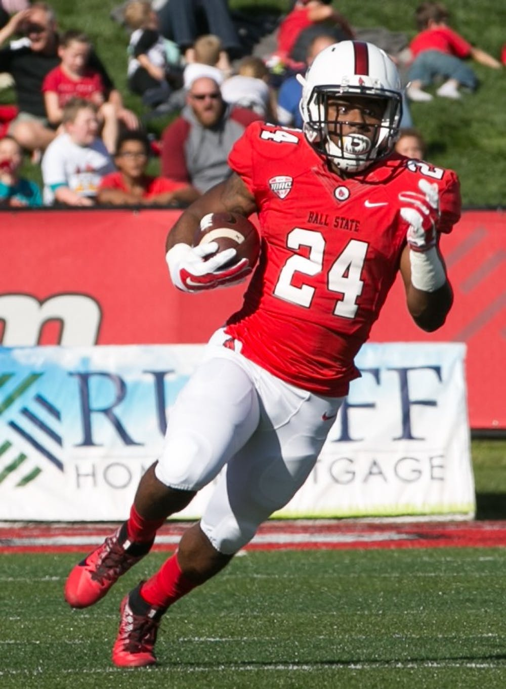 <p>Sophomore running back Markice Hurt Jr. runs the ball during the first quarter of the Homecoming game against Central Michigan Oct. 21, 2017, in Scheumann Stadium. The Cardinals lost 56-9. Kaiti Sullivan, DN</p>