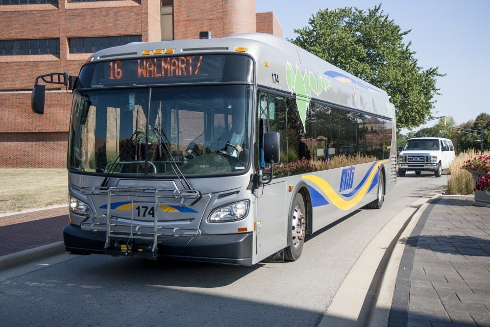 <p>Muncie buses and Ball State shuttles make stops at Walmart, Scheumann Stadium, the L.A. Pittenger Student Center and other local landmarks. <strong>Kaiti Sullivan, DN File</strong></p>