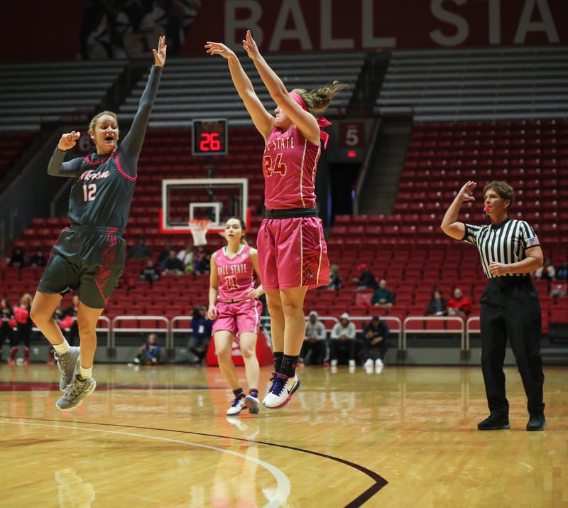 Graduate student guard Jasmin Samz goes for a three pointer Feb. 8, 2020, at John E. Worthen arena. Samz scored nine points. Jaden Whiteman, DN