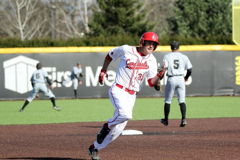Right fielder Matt Eppers runs to third in the fifth inning during the Cardinals' game against Purdue on March 22 at Ball Diamond. Ball State lost 16-4. Paige Grider // DN