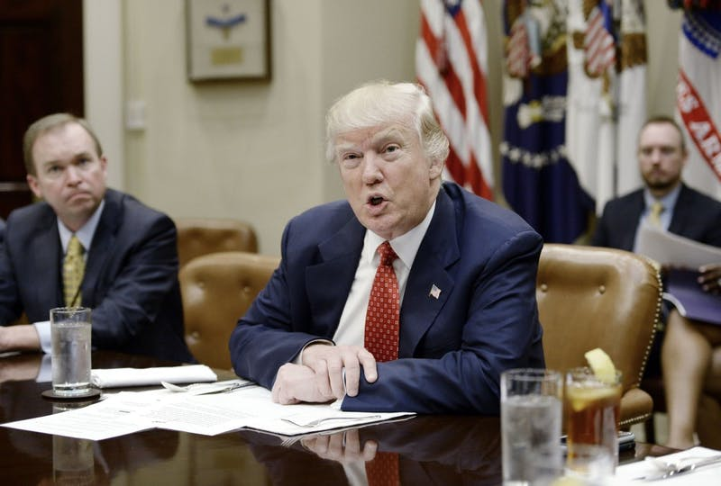 U.S. President Donald Trump discusses the Federal budget over lunch in the Roosevelt Room of the White House on Feb. 22, 2017 in Washington, D.C .(Olivier Douliery/Abaca Press/TNS)