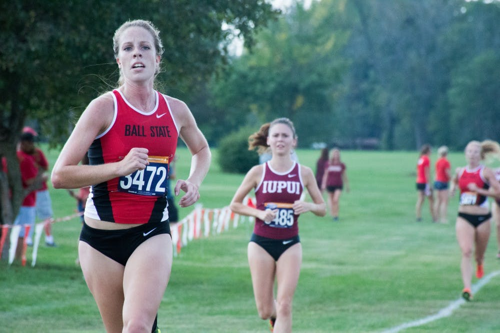 <p>Freshman Peyton Kneadler runs toward the finish line at the cross country meet against IUPUI on Sept. 23, 2016 at the Muncie Elks Country Club. &nbsp;Ball State won against IUPUI 16-46.<strong> Kaiti Sullivan, DN</strong></p>