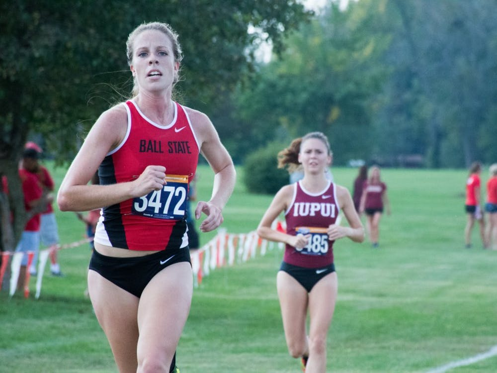 Freshman Peyton Kneadler runs toward the finish line at the cross country meet against IUPUI on Sept. 23, 2016 at the Muncie Elks Country Club.  Ball State won against IUPUI 16-46. Kaiti Sullivan, DN