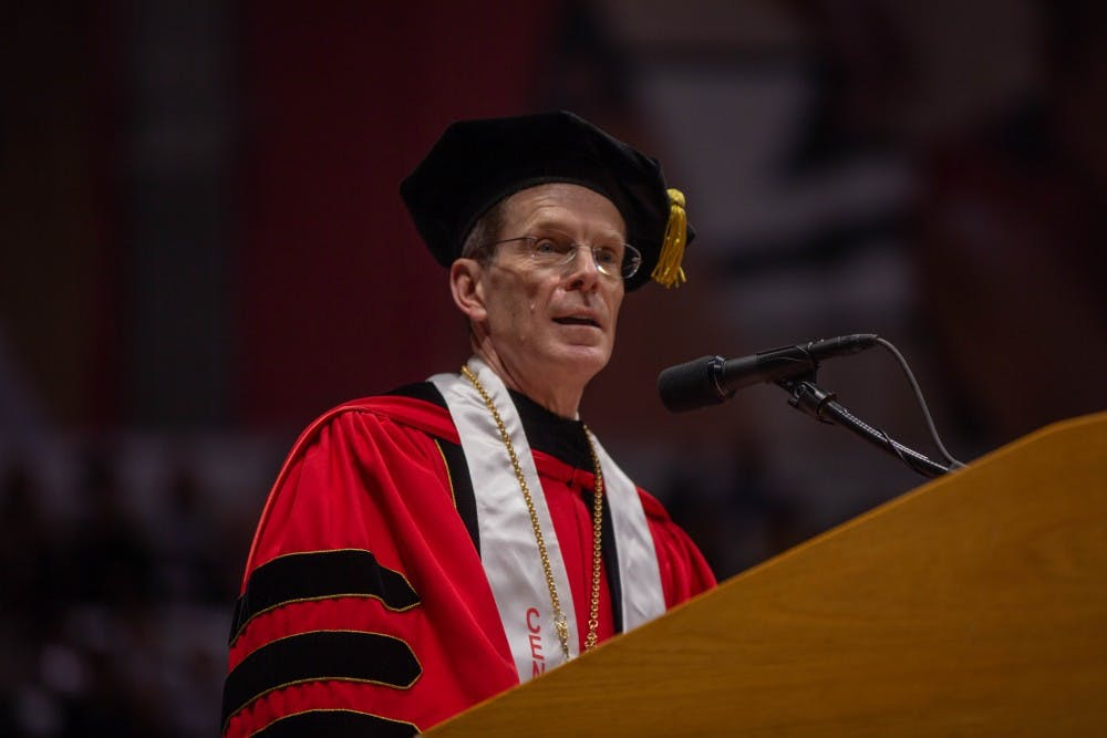 <p>Ball State President Geoffrey Mearns speaks during the spring 2019 commencement May 4, 2019 in the John E. Worthen Arena. Ball State celebrated its centennial this year.<strong> Scott Fleener, DN</strong></p>