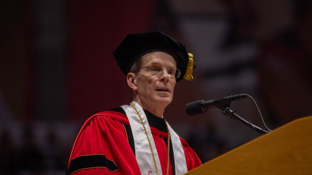 Ball State President Geoffrey Mearns speaks during the spring 2019 commencement May 4, 2019 in the John E. Worthen Arena. Ball State celebrated its centennial this year. Scott Fleener, DN