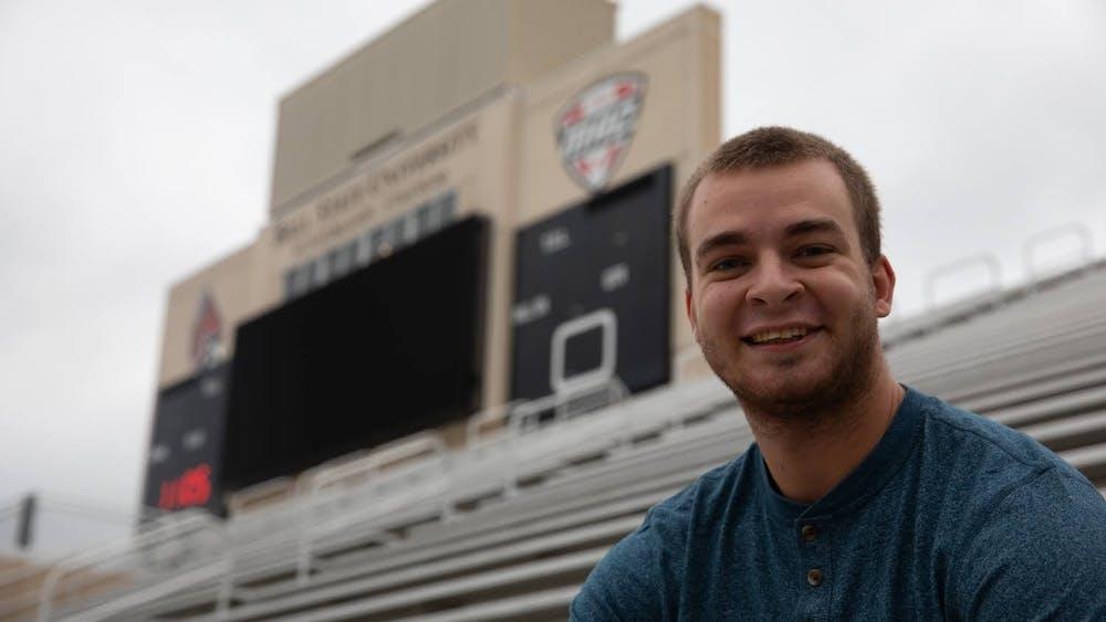 Zach Piatt smiles for a portrait Sept. 23, 2020, at Scheumann Stadium. Piatt has covered 26 Ball State Football games as a student. Jacob Musselman, DN