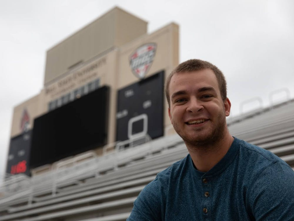Zach Piatt smiles for a portrait Sept. 23, 2020, at Scheumann Stadium. Piatt has covered 26 Ball State Football games as a student. Jacob Musselman, DN