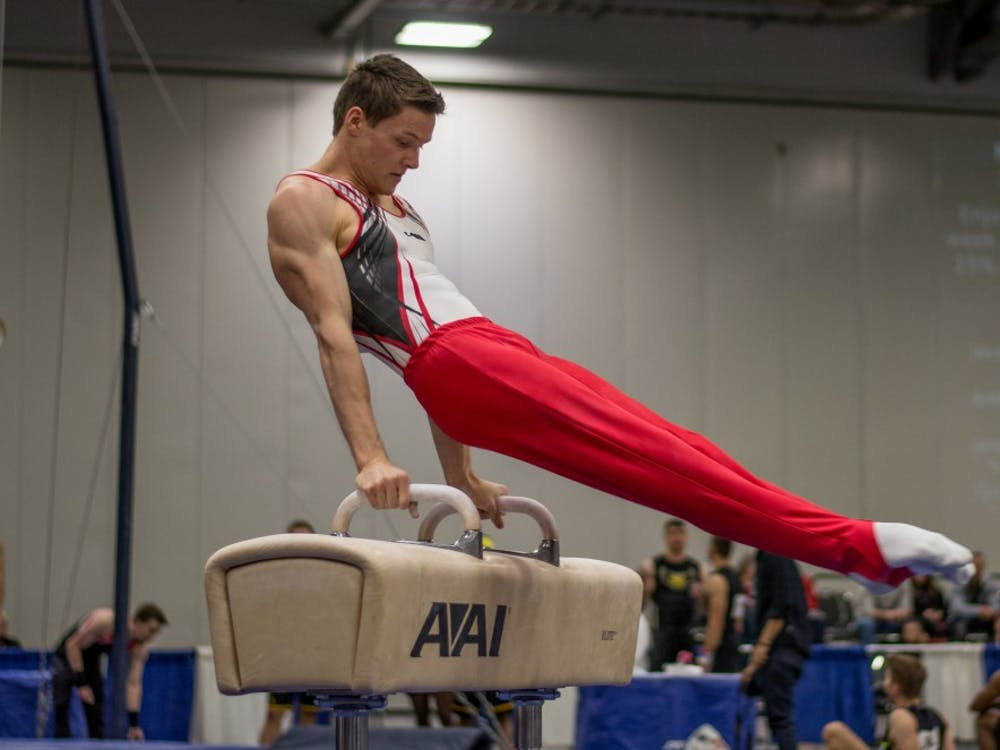 Robin Klause competing on pommel horse at the 2017 NAGIC Nationals competion. Samantha Brammer // DN