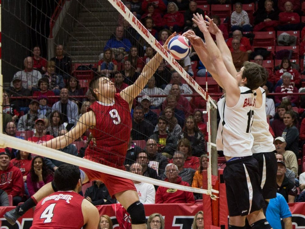 Seniors Alex Pia and Connor Gross block the ball at the game against Ohio State on Feb. 2 in Worthen Arena. The Cardinals lost 3-0 to the Buckeyes. Kaiti Sullivan // DN