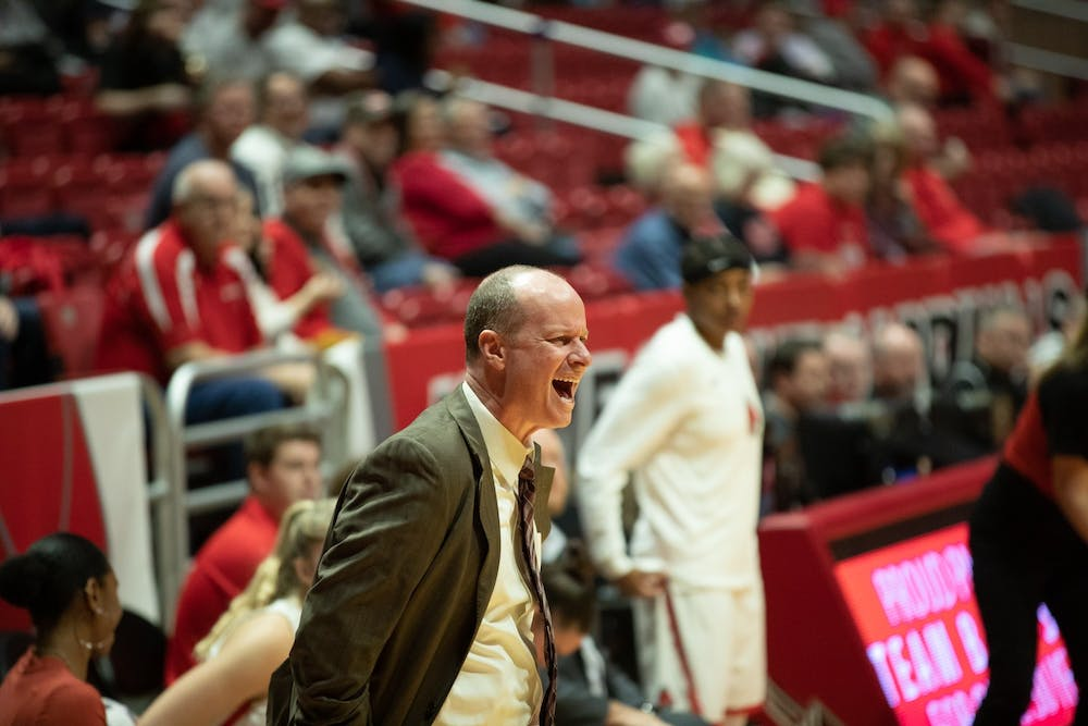 <p>Women's Basketball head coach Brady Sallee yells at a referee after a foul on Ball State Jan. 11, 2020, at John E. Worthen Arena. Sallee is in his eighth season at Ball State. <strong>Jacob Musselman, DN</strong></p>