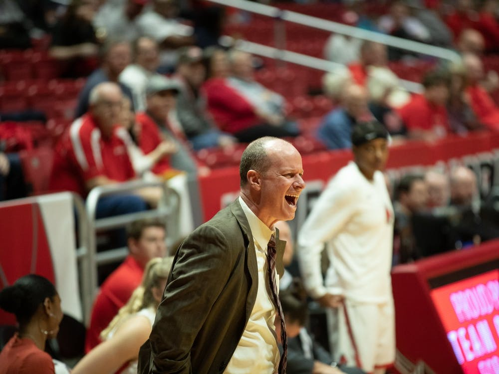 Women's Basketball head coach Brady Sallee yells at a referee after a foul on Ball State Jan. 11, 2020, at John E. Worthen Arena. Sallee is in his eighth season at Ball State. Jacob Musselman, DN