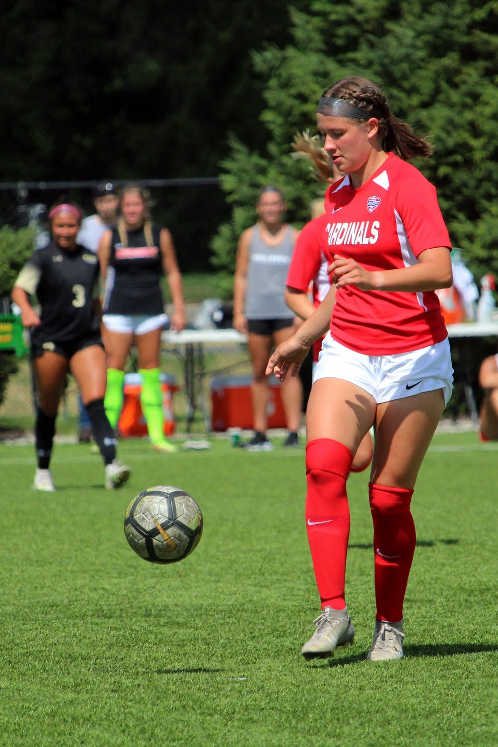 <p>A player for Ball State Soccer goes for the ball in a game against Purdue Fort Wayne, Sunday, Sept. 5, 2021.<strong> DN, Amber Pietz</strong><br/><br/><br/><br/></p>