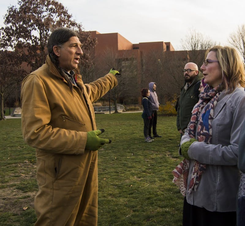 Ball State alumnus Stacey Stinson and Kelli Huth, director of immersive learning for entrepreneurial learning, discuss the crisis of the Dakota Access Pipeline on Dec. 4, 2016, at the University Green. Terence K. Lightning Jr., DN File