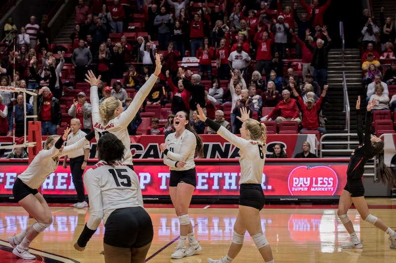 Ball State women's volleyball and fans in John E. Worthen Arena erupt in cheers after defeating Central Michigan Nov. 16, 2019, which secured a spot for them in the MAC championship. The Cardinals Finished their regular season 17-11. Eric Pritchett, DN