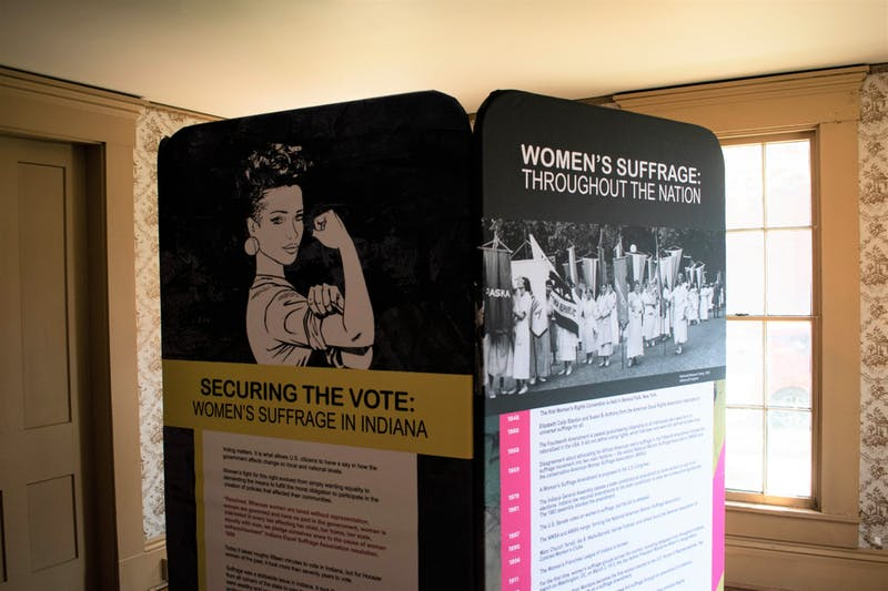 """The """"Securing the Vote: Women's Suffrage in Indiana"""" exhibit from the Indiana Historical Society provides a statewide view of the women's suffrage movement. It is one of two exhibits the Delaware County Historical Society is holding through Sept. 29 focusing on local figures influential to the U.S. women's suffrage movement. Joey Sills, DN"""